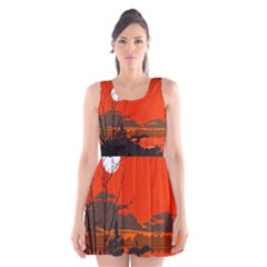 Tropical Birds Orange Sunset Landscape Scoop Neck Skater Dress