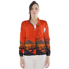 Tropical Birds Orange Sunset Landscape Wind Breaker (women)