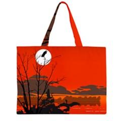 Tropical Birds Orange Sunset Landscape Zipper Large Tote Bag