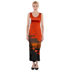 Tropical Birds Orange Sunset Landscape Fitted Maxi Dress