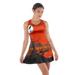 Tropical Birds Orange Sunset Landscape Racerback Dresses