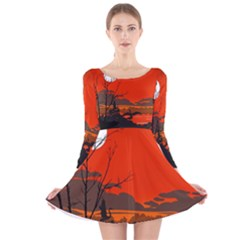 Tropical Birds Orange Sunset Landscape Long Sleeve Velvet Skater Dress