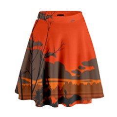 Tropical Birds Orange Sunset Landscape High Waist Skirt