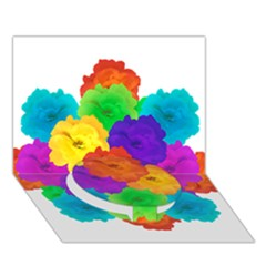 Flowes Collage Ornament Circle Bottom 3d Greeting Card (7x5)