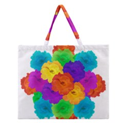 Flowes Collage Ornament Zipper Large Tote Bag
