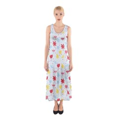 Seamless Colorful Flowers Pattern Full Print Maxi Dress