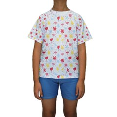 Seamless Colorful Flowers Pattern Kid s Short Sleeve Swimwear