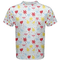 Seamless Colorful Flowers Pattern Men s Cotton Tee