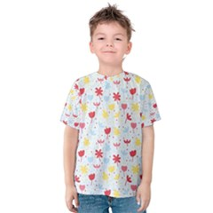 Seamless Colorful Flowers Pattern Kid s Cotton Tee