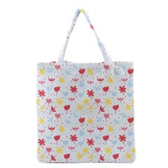 Seamless Colorful Flowers Pattern Grocery Tote Bag