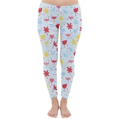 Seamless Colorful Flowers Pattern Winter Leggings