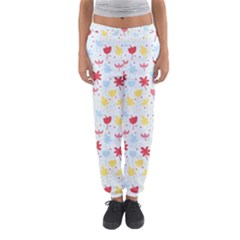 Seamless Colorful Flowers Pattern Women s Jogger Sweatpants