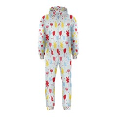 Seamless Colorful Flowers Pattern Hooded Jumpsuit (kids)
