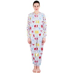 Seamless Colorful Flowers Pattern Onepiece Jumpsuit (ladies)