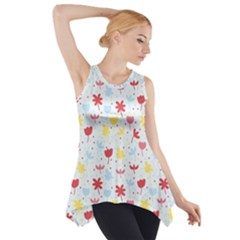 Seamless Colorful Flowers Pattern Side Drop Tank Tunic