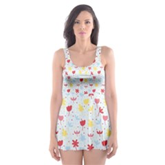 Seamless Colorful Flowers Pattern Skater Dress Swimsuit