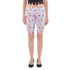 Seamless Colorful Flowers Pattern Yoga Cropped Leggings