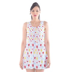 Seamless Colorful Flowers Pattern Scoop Neck Skater Dress
