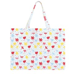 Seamless Colorful Flowers Pattern Large Tote Bag