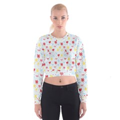 Seamless Colorful Flowers Pattern Women s Cropped Sweatshirt