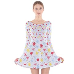 Seamless Colorful Flowers Pattern Long Sleeve Velvet Skater Dress