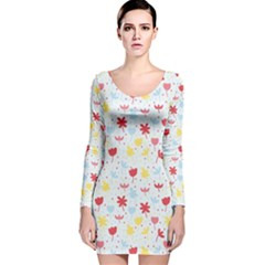 Seamless Colorful Flowers Pattern Long Sleeve Velvet Bodycon Dress