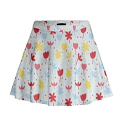 Seamless Colorful Flowers Pattern Mini Flare Skirt