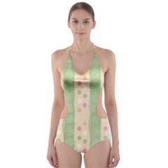 Seamless Colorful Dotted Pattern Cut-Out One Piece Swimsuit