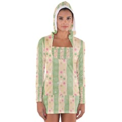 Seamless Colorful Dotted Pattern Women s Long Sleeve Hooded T Shirt