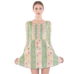 Seamless Colorful Dotted Pattern Long Sleeve Velvet Skater Dress