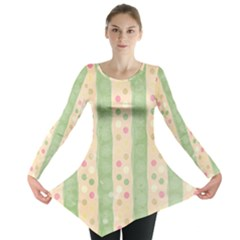 Seamless Colorful Dotted Pattern Long Sleeve Tunic