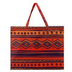Tribal Pattern Zipper Large Tote Bag