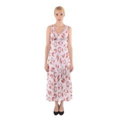 Red Seamless Floral Pattern Full Print Maxi Dress