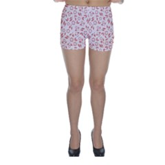 Red Seamless Floral Pattern Skinny Shorts