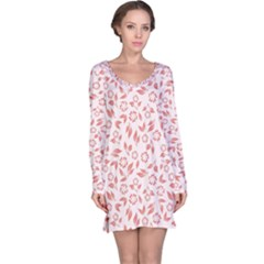 Red Seamless Floral Pattern Long Sleeve Nightdress
