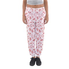 Red Seamless Floral Pattern Women s Jogger Sweatpants