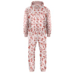 Red Seamless Floral Pattern Hooded Jumpsuit (men)