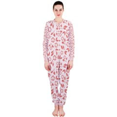 Red Seamless Floral Pattern Onepiece Jumpsuit (ladies)
