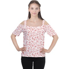 Red Seamless Floral Pattern Women s Cutout Shoulder Tee