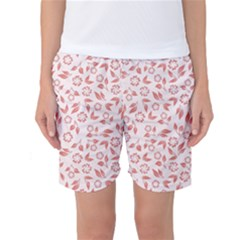 Red Seamless Floral Pattern Women s Basketball Shorts