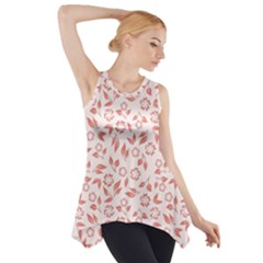 Red Seamless Floral Pattern Side Drop Tank Tunic