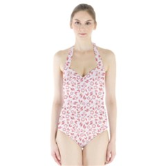 Red Seamless Floral Pattern Women s Halter One Piece Swimsuit