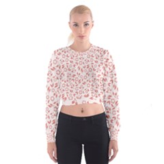 Red Seamless Floral Pattern Women s Cropped Sweatshirt