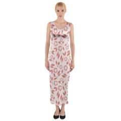 Red Seamless Floral Pattern Fitted Maxi Dress