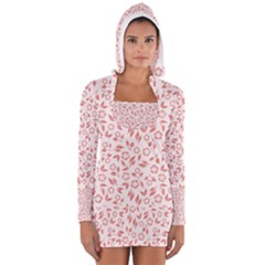 Red Seamless Floral Pattern Women s Long Sleeve Hooded T-shirt