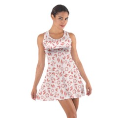 Red Seamless Floral Pattern Racerback Dresses