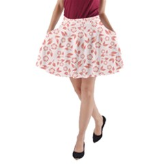 Red Seamless Floral Pattern A-Line Pocket Skirt