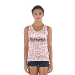 Red Seamless Floral Pattern Tops