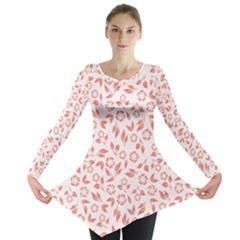Red Seamless Floral Pattern Long Sleeve Tunic