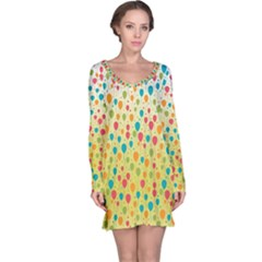 Colorful Balloons Backlground Long Sleeve Nightdress